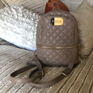BeBe Mini Beige/Taupe Backpack with Gold Accents